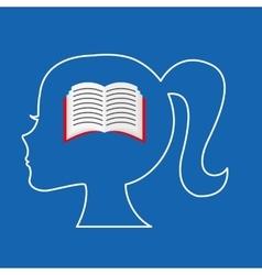silhouette head girl school book vector image