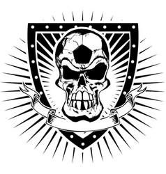 soccer skull shield vector image vector image