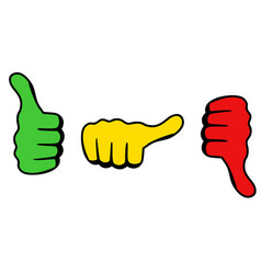 three thumbs icon for satisfaction level vector image vector image