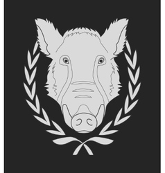 Wild boar head in laurel wreath chalkboard vector