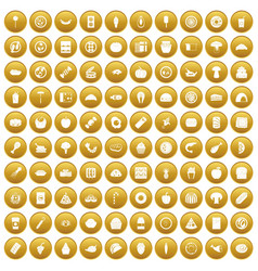 100 meal icons set gold vector