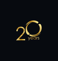 20 years anniversary celebration gold template vector