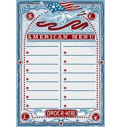 American restaurant menu vector