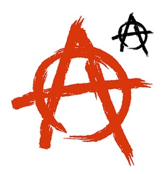 Anarchy symbol grunge style sign disorder and vector