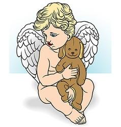 Angel Holding Stuffed Animal vector