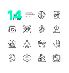 artificial intelligence - set of line design style vector image