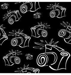 Black and white contour photo camera seamless vector image