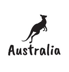 black kangaroo silhouette isolated on white vector image