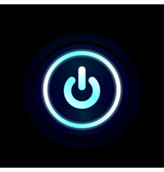 Blue LED power button design vector