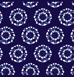 Blue shibori monochrome octagon wheels vector