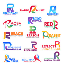 Business icons letter r corporate identity vector