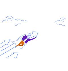 businessman dressed superhero cloak flying up vector image