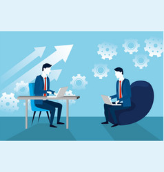 businessmen with laptop technology and gears vector image