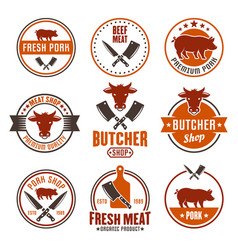 butcher shop set of colored round emblems vector image