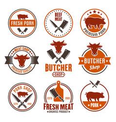butcher shop set of colored round emblems vector image