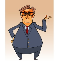 cartoon character big bellied man in a suit vector image