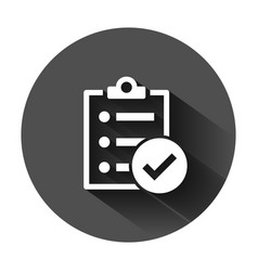 Checklist document sign icon in flat style survey vector