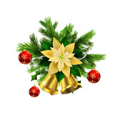 christmas decoration evergreen trees and bell vector image