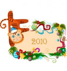 Christmas tiger vector