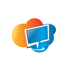 cloud computing logo design cloud storage with vector image