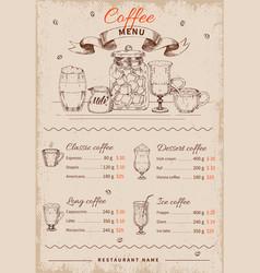 coffee hand drawn restaurant menu vector image