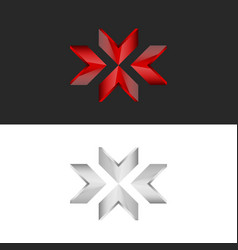 Converge in one point arrow logo in the form of x vector