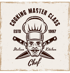 cooking emblem with chef and crossed knives vector image