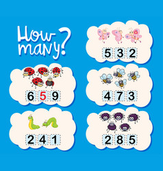 Counting worksheet with numbers and pictures vector
