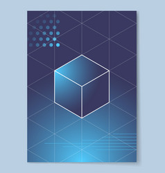 Cube with white outline on gradient background vector