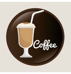 Cup glass coffee with straw graphic vector