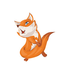 Cute colorful red fox is sing a new popular song vector