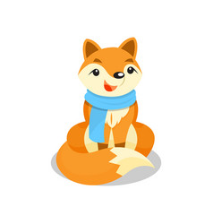 cute little fox wearing blue scarf funny pup vector image