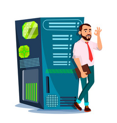 data center hosting server and man vector image