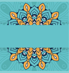 Decorative floral mandala with green background vector