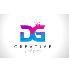 Dg d g letter logo with shattered broken blue vector