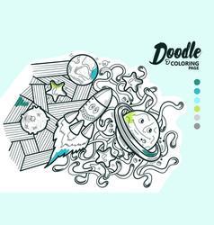 doodle funny cosmos vector image
