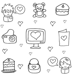 Doodle of love theme vector