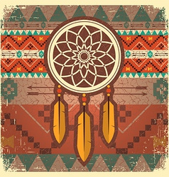 dream catcher poster with ethnic ornament vector image