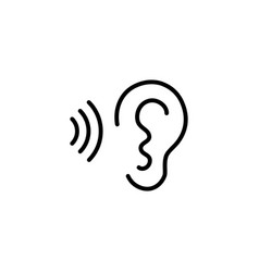 Ear and sound wave black icon on white background vector