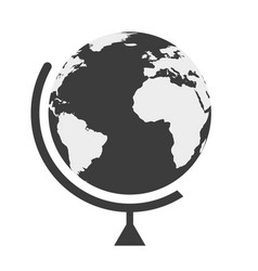 earth globe in a flat style on white background vector image