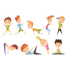 fitness sport set boys and girl making vector image