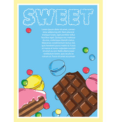 Flyer on the theme of food and sweets on blue vector