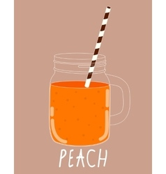 Fresh Peach Smoothie Healthy Food vector