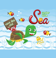 funny marine life cartoon vector image
