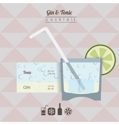 Gin and tonic cocktail flat style vector