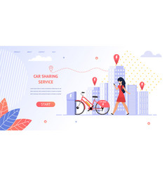 Girl student rent an electric bike vector
