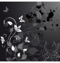 grunge floral design with butterflies vector image