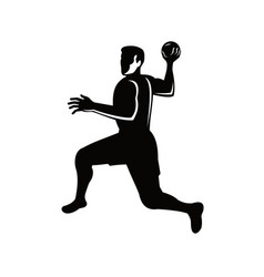 Handball player jumping throwing ball retro black vector