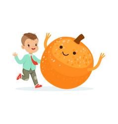 Happy boy having fun with fresh smiling orange vector