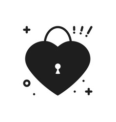 heart lock line icon love sign and symbol love vector image
